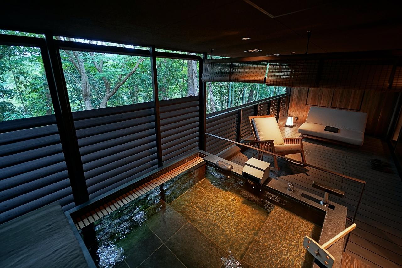 全室完備の露天風呂でリラックス