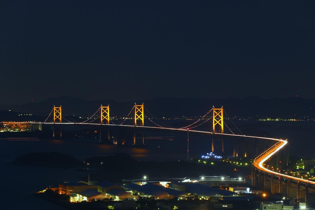 青ノ山から狙う瀬戸大橋ライトアップ