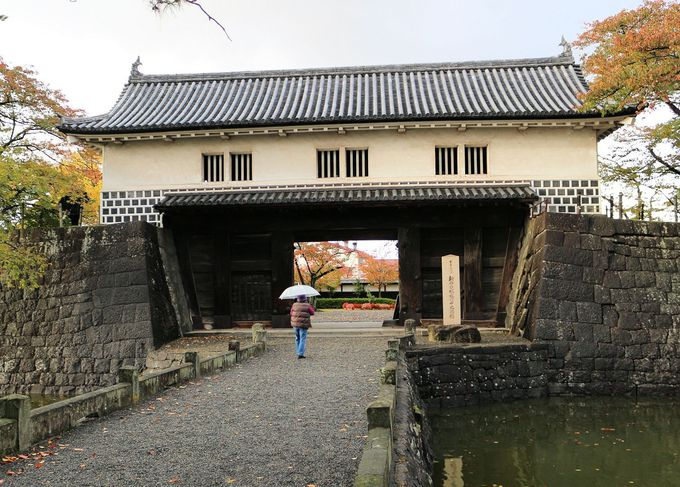 国の重要文化財に指定されている本丸表門と二の丸隅櫓