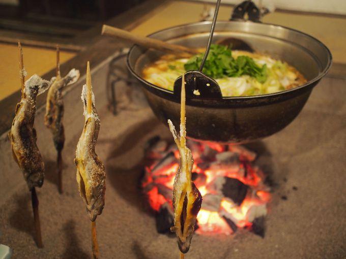 山の芋鍋と岩魚