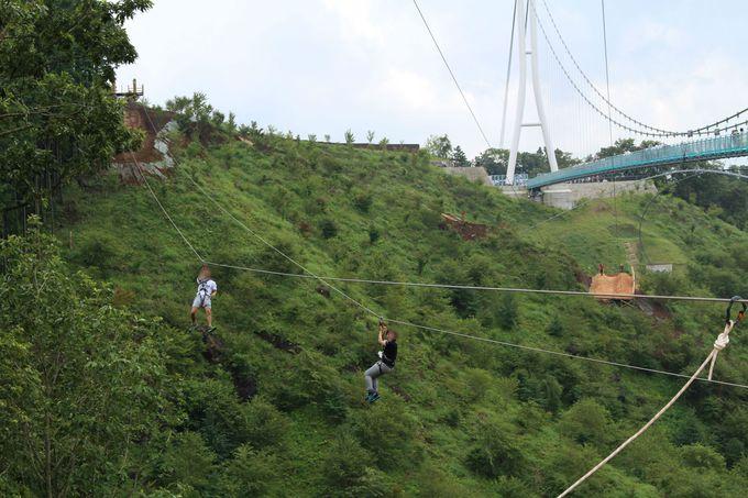 ロングジップラインで上空70メートルを大滑走!スリリングな空の旅!