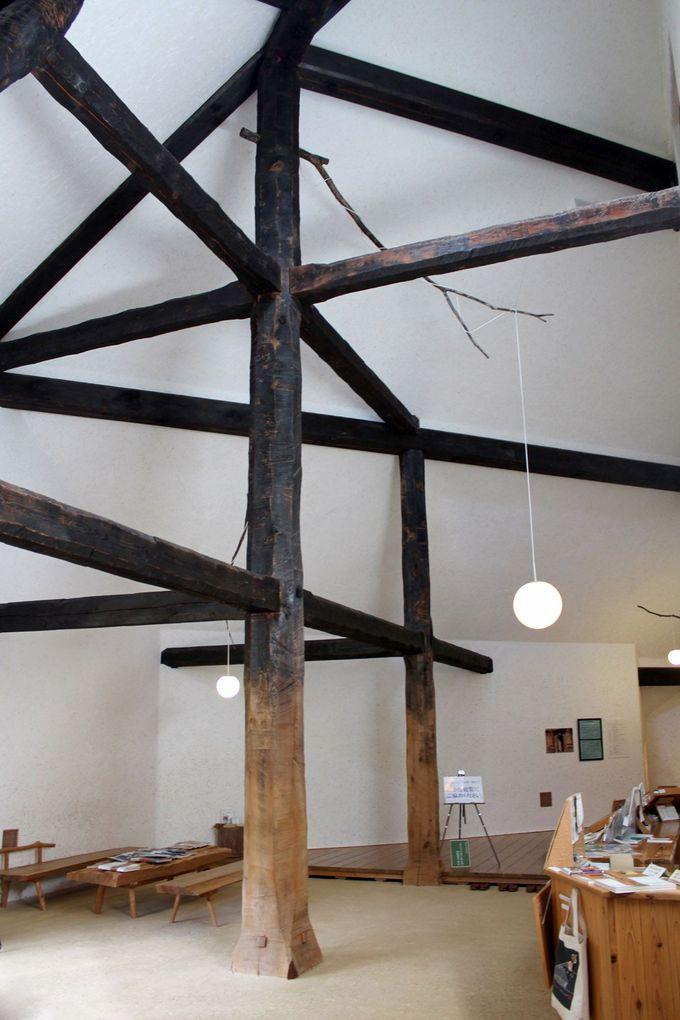 木の構造が見事なエントランスがお出迎え