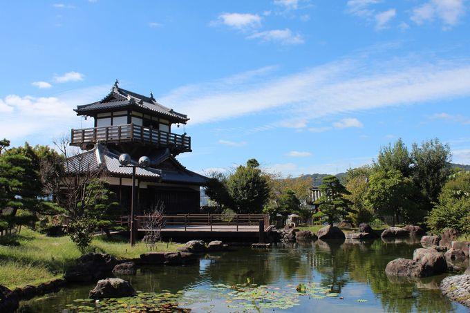 櫓を模した休憩所に回遊式庭園と和の要素が満載
