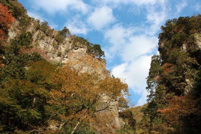 檜原村の山中にそそり立つ一対の断崖「神戸岩」