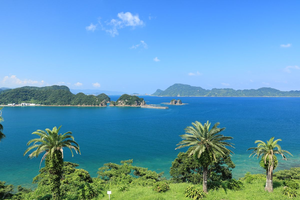 大小の島影と椰子の木が織り成す絶景を楽しもう!
