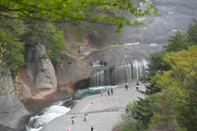 右岸の散策路に設けられた観瀑台からの景観は必見!