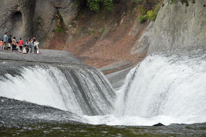 河床の巨大な溝へと水が流れ落ちてゆく「吹割の滝」