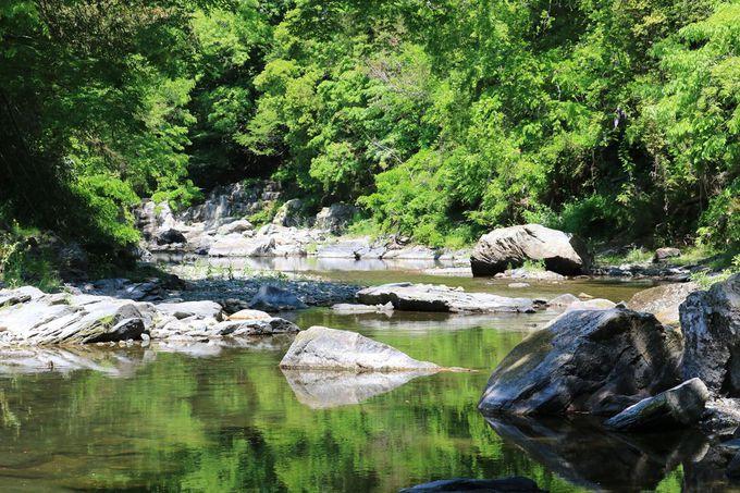 槻川の岩畳や甌穴にも注目