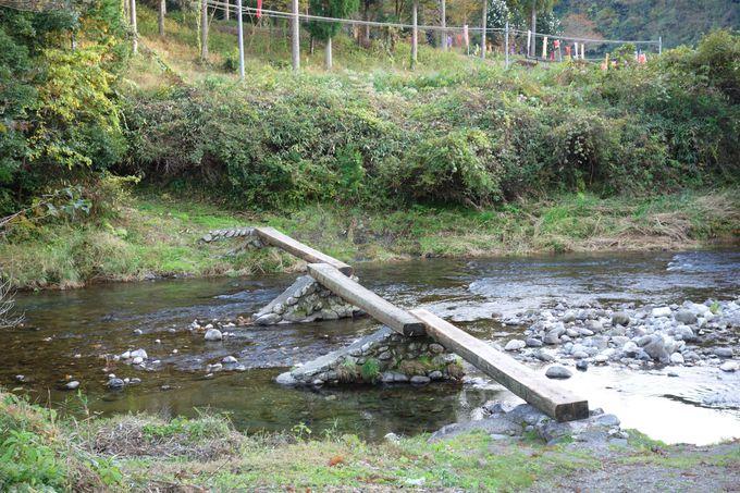 沈下橋の原型、北川川にかかる「早瀬の一本橋」