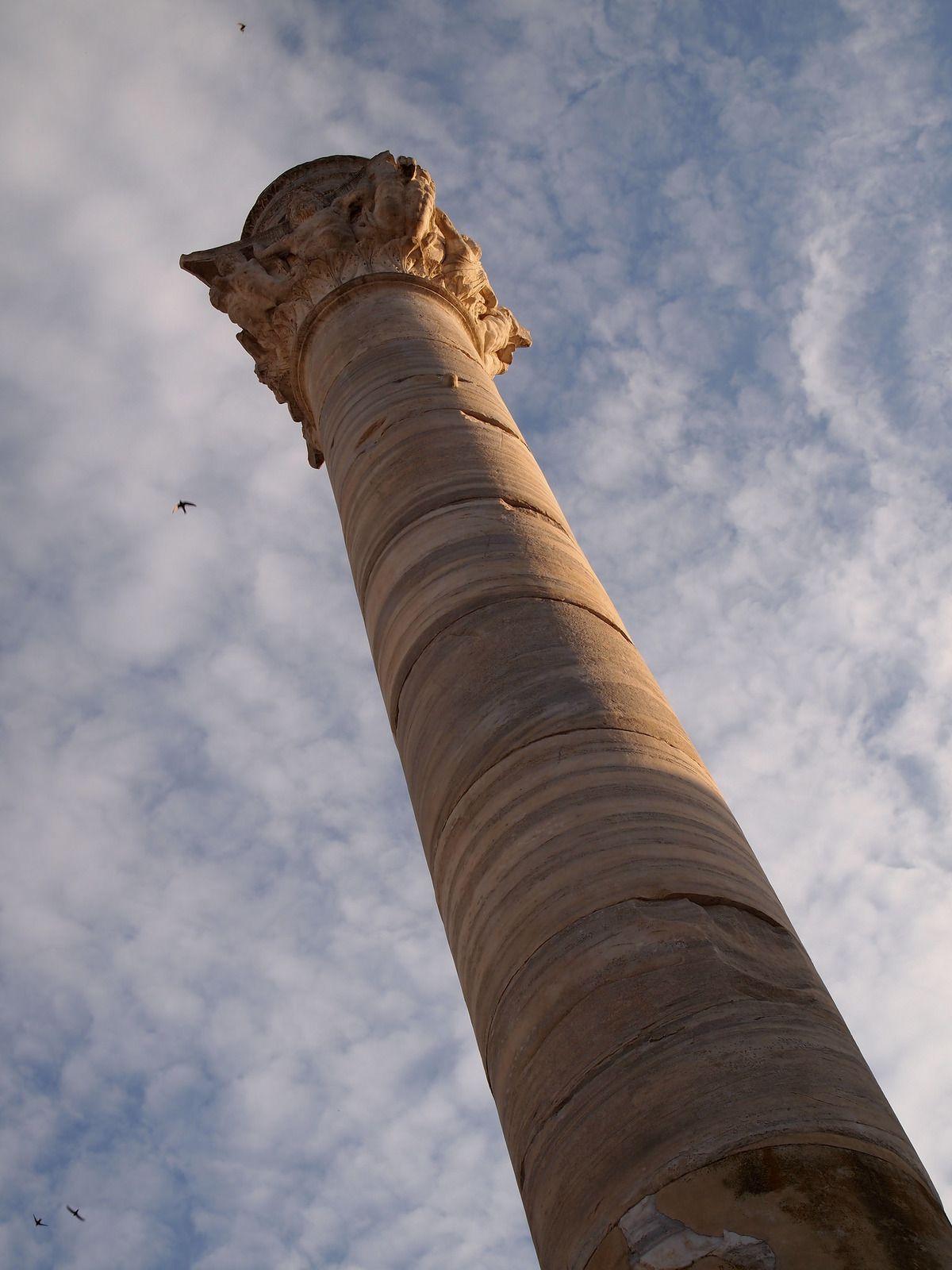 海とローマの円柱