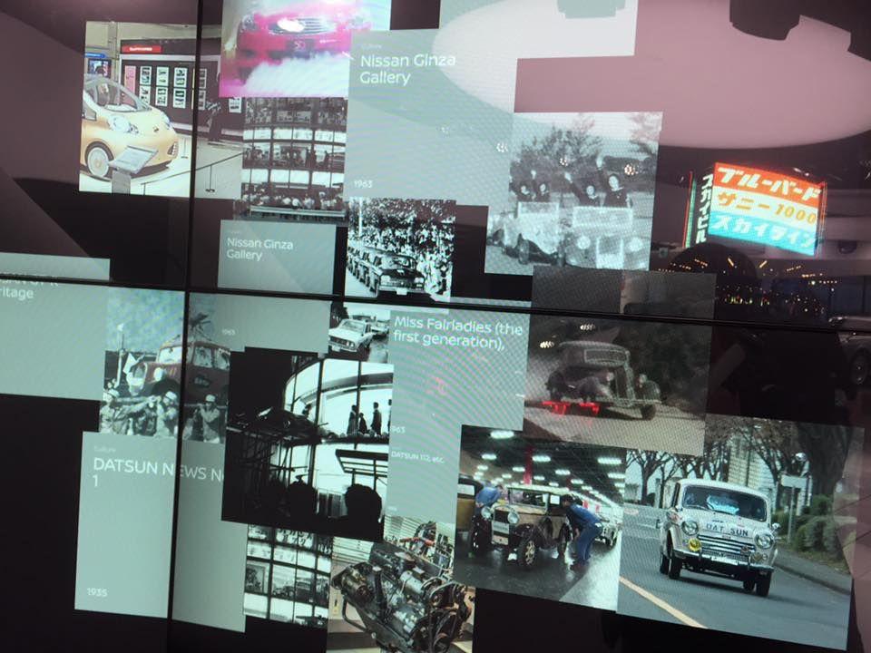 日産と日産ギャラリーの歴史を伝えるワイドスクリーン