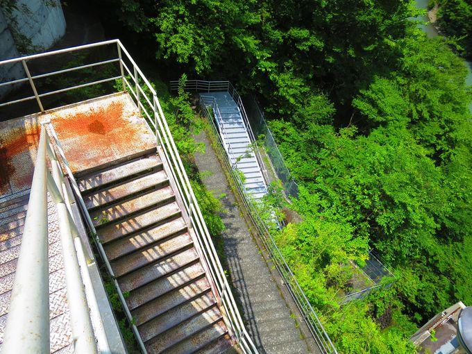 夢の吊り橋へと続く急な下り階段