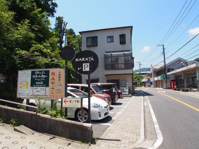 宮ノ下駅すぐ目の前にあるナラヤカフェ(NARAYA CAFE)!無料駐車場も5台完備