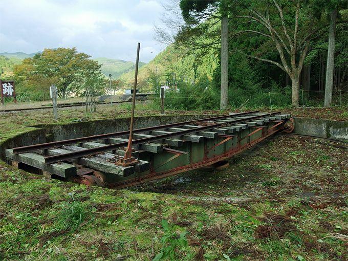 鄙びた木造駅舎と転車台、廃線跡のある風景〜美作河井駅