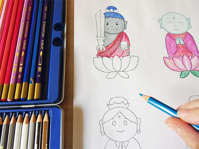 可愛らしい仏画の写仏は、お子様と一緒でも◎