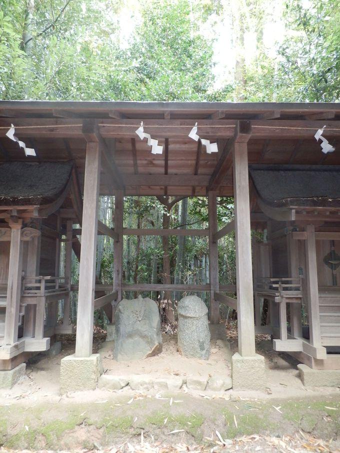 祠にまつられた陰陽石群