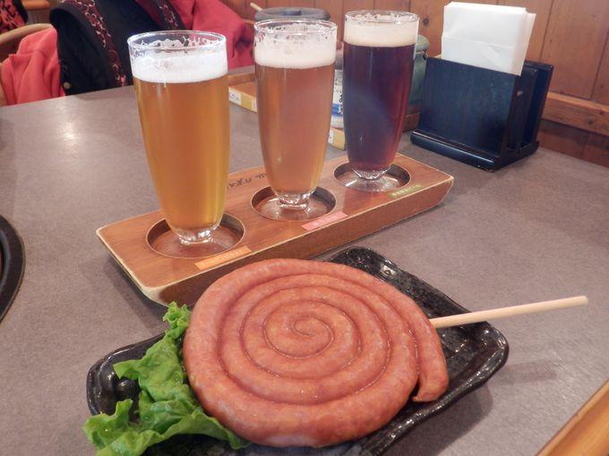 お楽しみはやっぱりこれ!モクモクファーム特製地ビール&ぐるぐるウィンナー