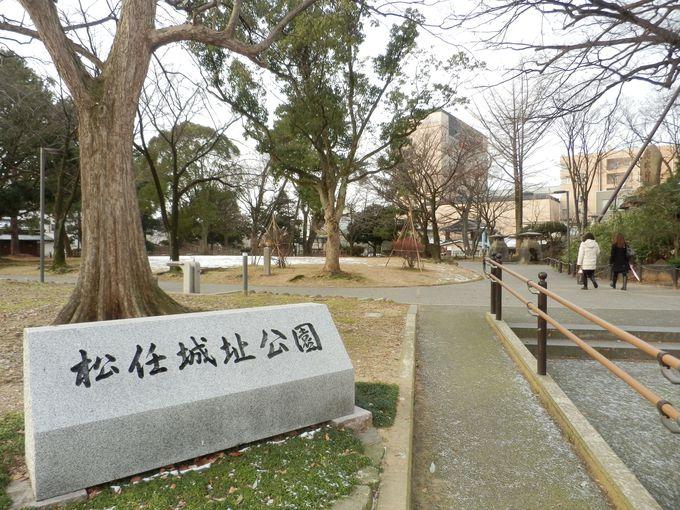 駅前に広がる公園が実は!公園として残る松任城本丸址