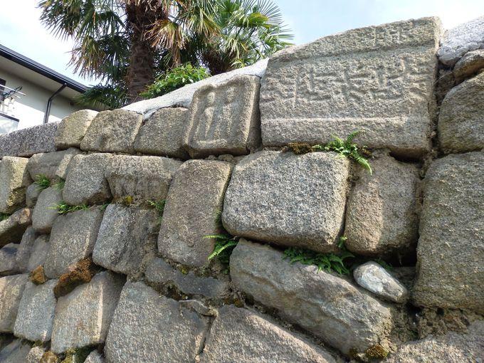 多聞城ではこのように使われていた?石垣に転用されている石仏や墓石