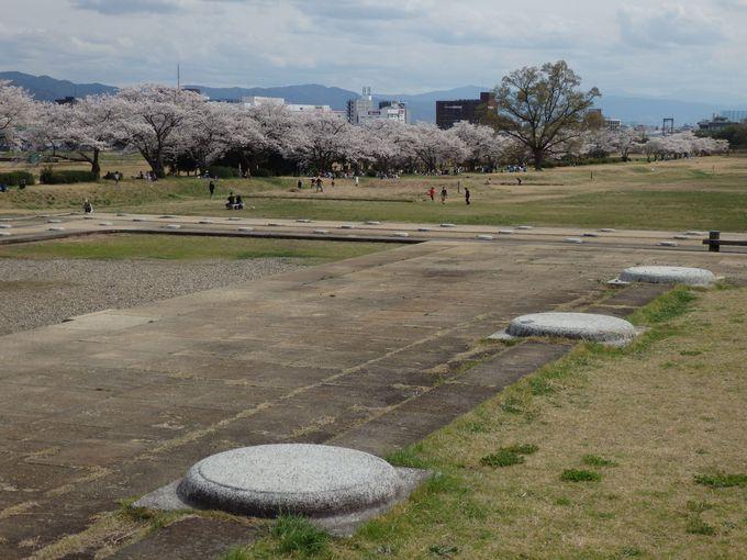 これは何?復原された礎石と桜並木
