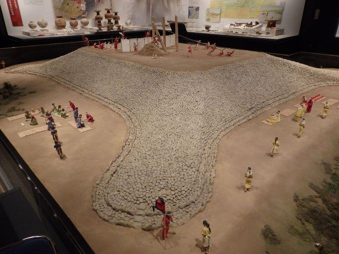 これが四隅突出型墳丘墓だ!館内に展示された四隅突出型墳丘墓の巨大ジオラマ