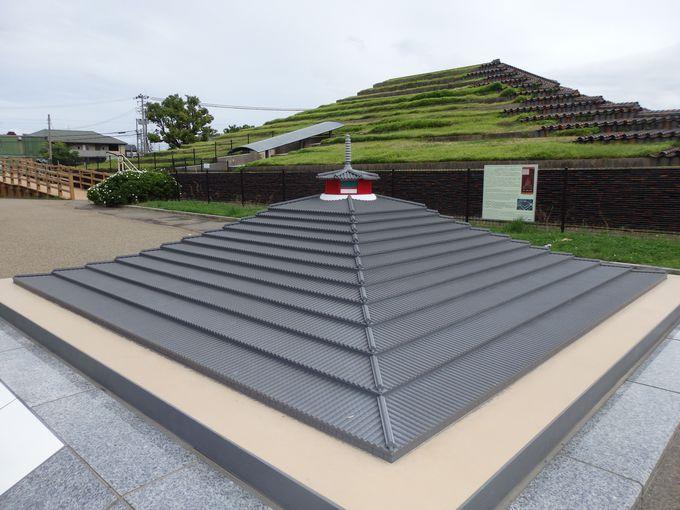 頂上には八角形の建造物?築造当時の姿を再現した模型