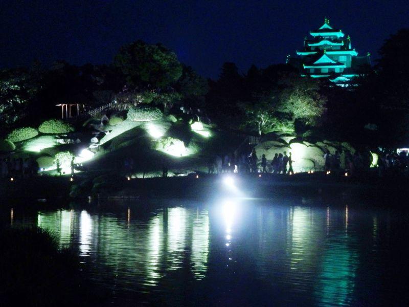 夜の後楽園を散策!ライトアップされた岡山「夏の幻想庭園」