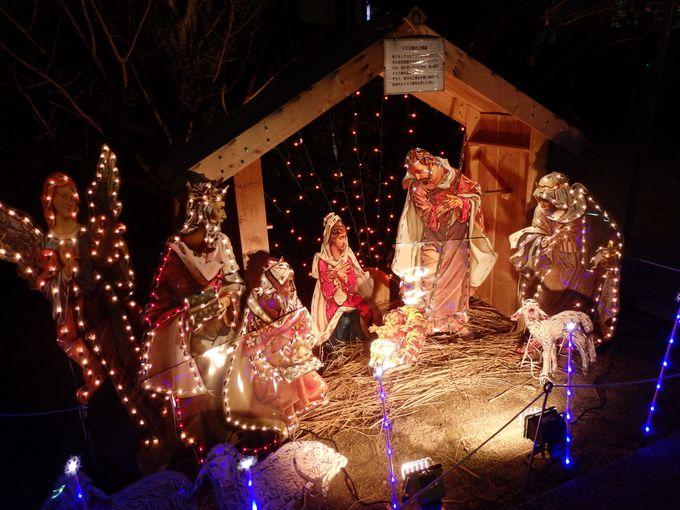 礼拝堂も目指そう!礼拝堂前で見られるイエス・キリスト誕生シーン