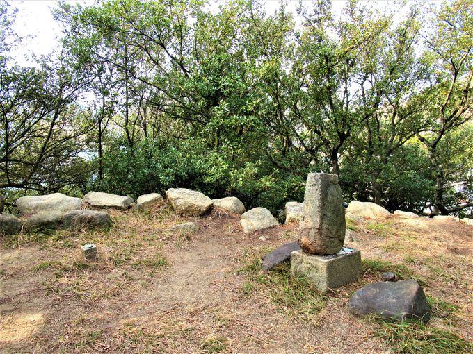 境内に残る長浜城の遺構と社叢