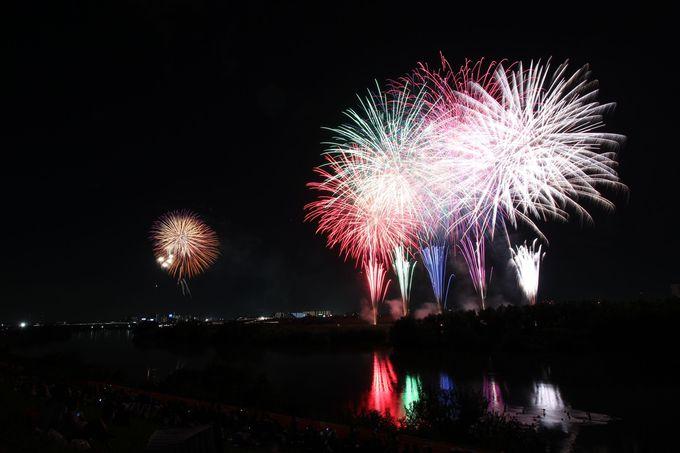 「流山花火大会」は江戸川堤で開催