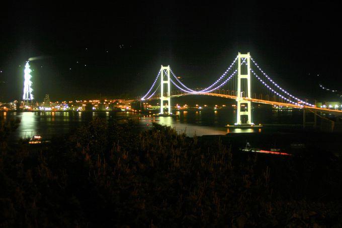 祝津公園展望台から白鳥大橋・工場群を撮影!