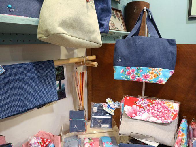 バッグやティッシュカバーなどの布雑貨も素敵