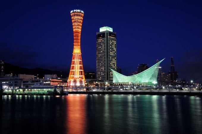 1日目夜・夕食:モザイクで神戸港の夜景見ながらディナー