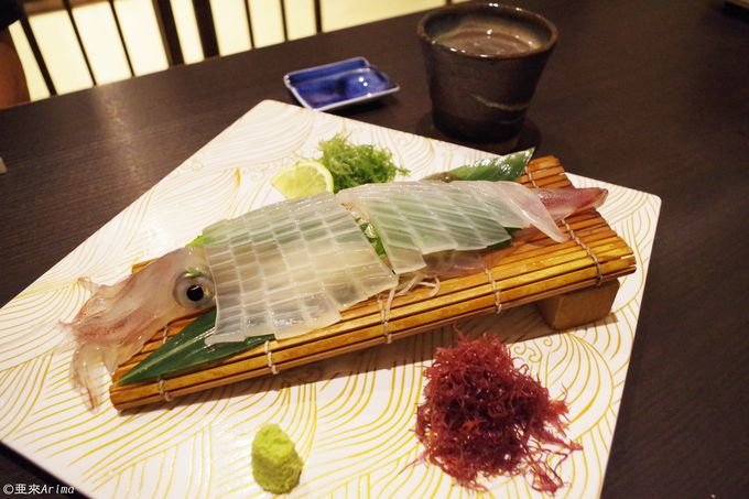 Not only肉、but also 海鮮「剣先イカの活造り」