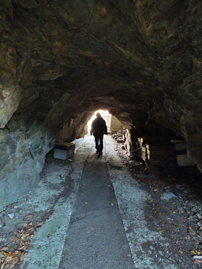 バス停背後の洞窟と旧遍路道隧道