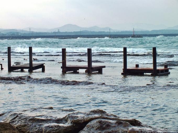 潮の満ち引きが景観に影響・洞山