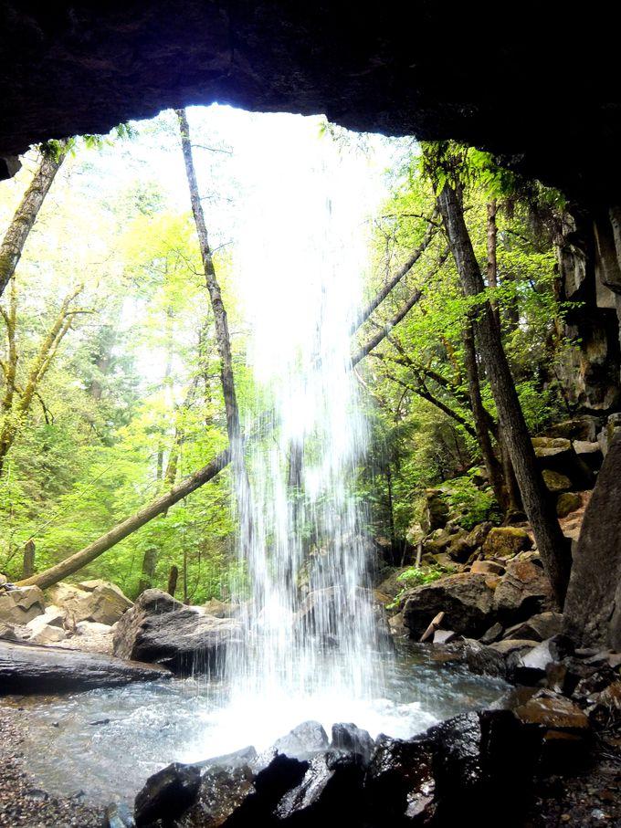 滝の裏からマイナスイオンを浴びる、ヘッジクリークフォールズへ!