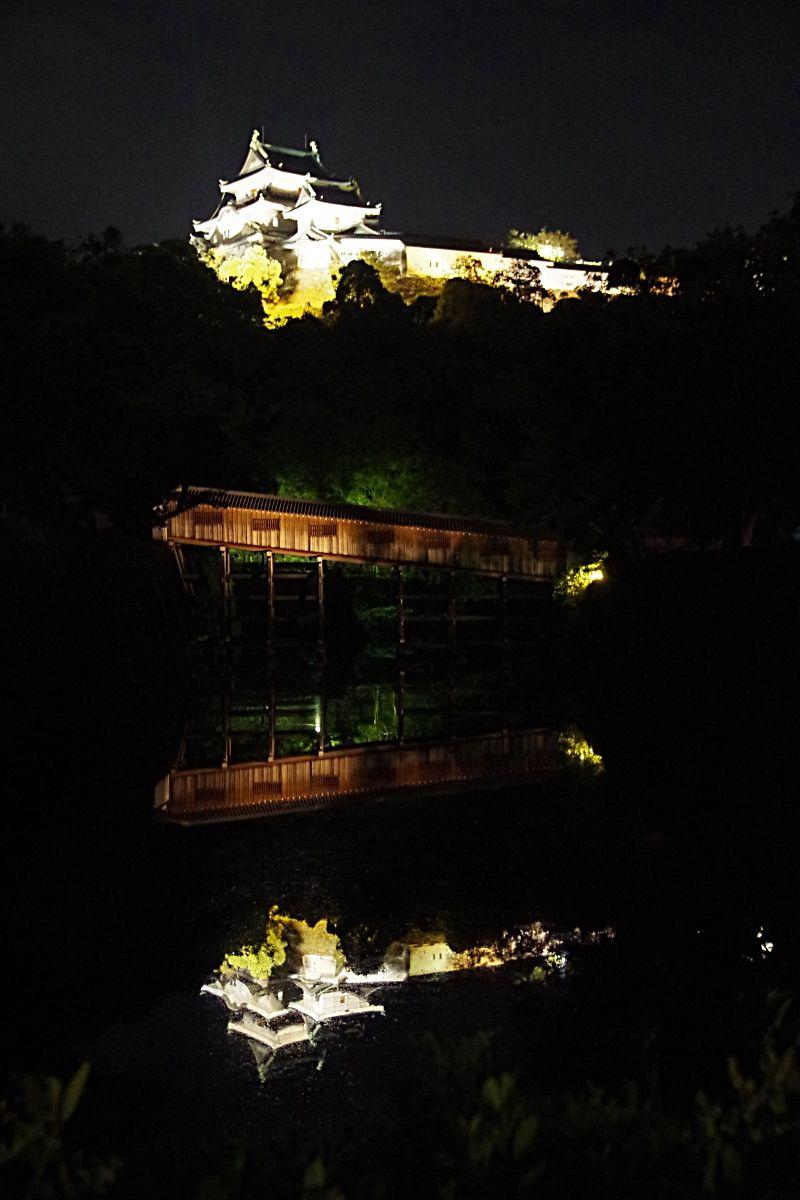 和歌山城天守閣と御橋廊下のライトアップも見逃せない
