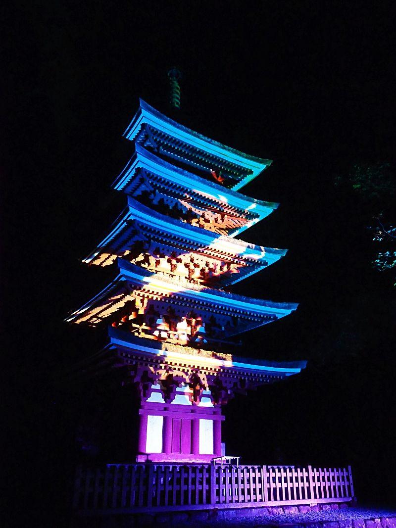 紅葉ライトアップのクライマックス五重塔の「昇龍」