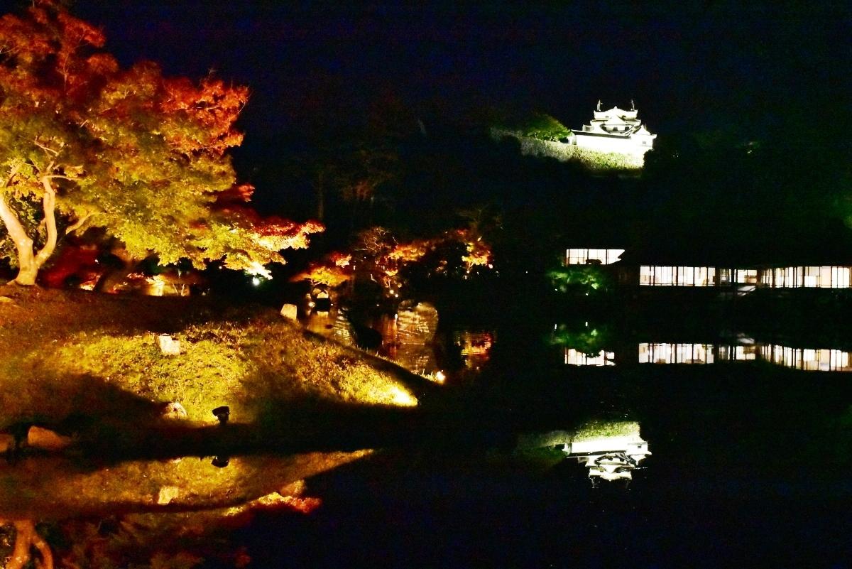 滋賀・彦根城「玄宮楽々園」紅葉ライトアップで晩秋のひと時を