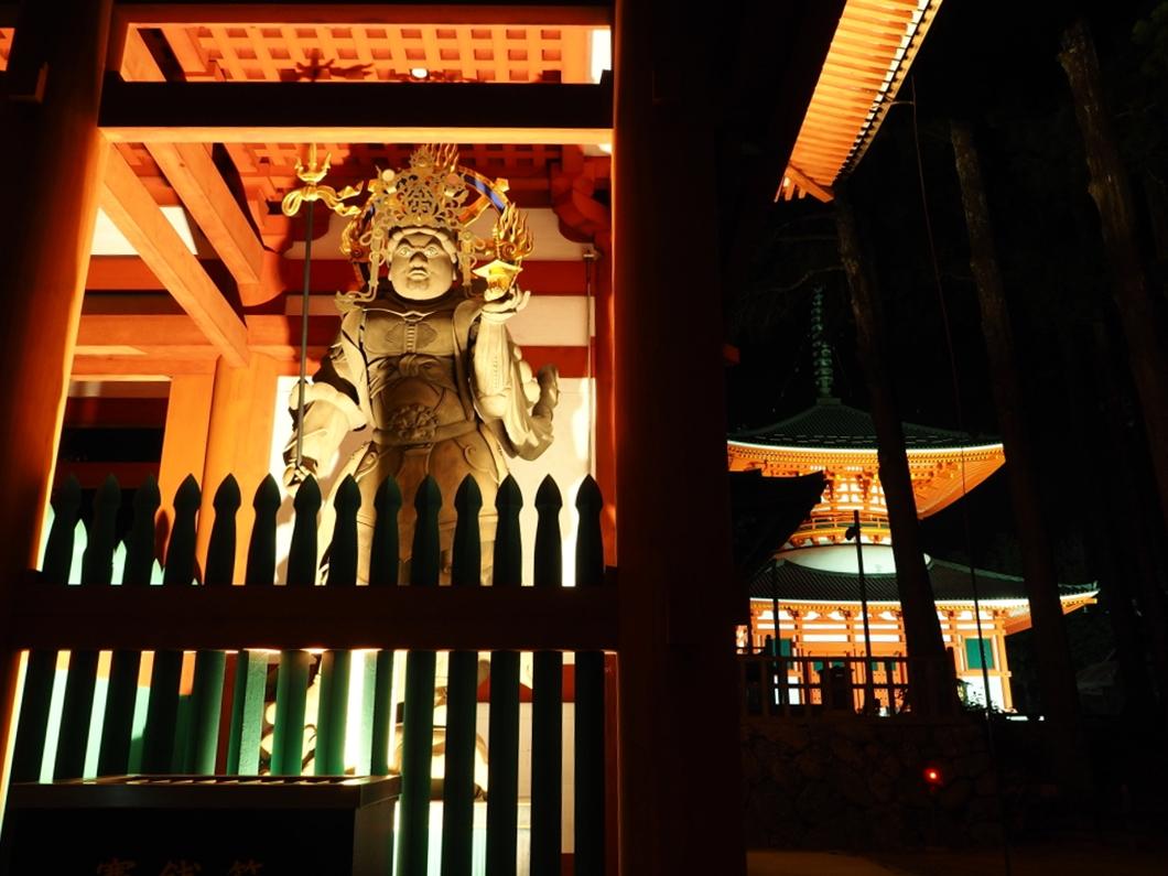 172年ぶりに再建された「中門」のライトアップ