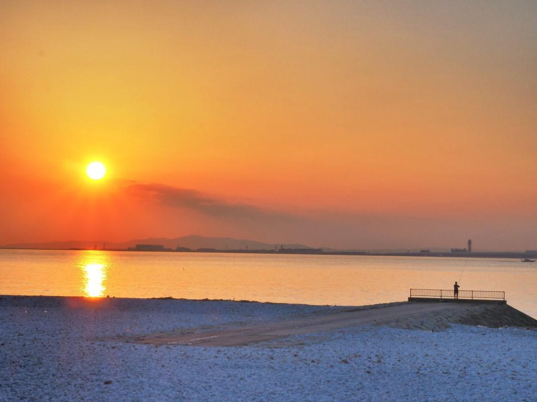 日本の夕陽百選「りんくうマーブルビーチ」からの夕日