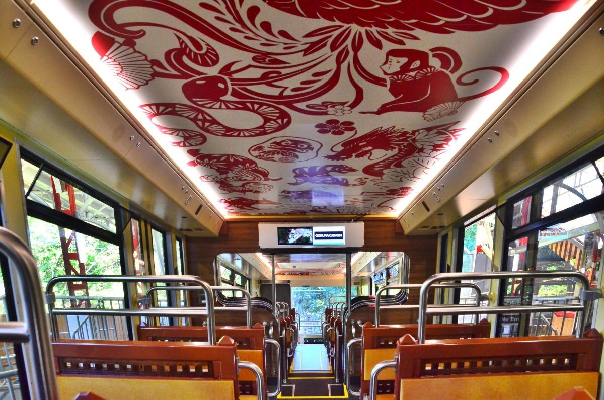 ケーブルカー側のコンコースの天井画「宝来天井絵」