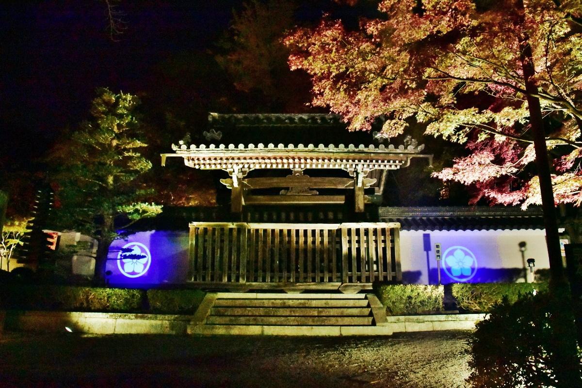 勅使門に浮かび上がる、明智家の家紋「水色桔梗」