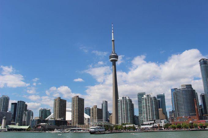 CNタワーの上からトロントの街を見下ろす