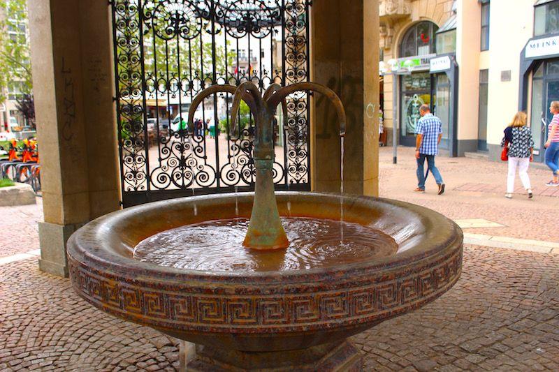 湯けむり上がる広場で温泉水を飲む