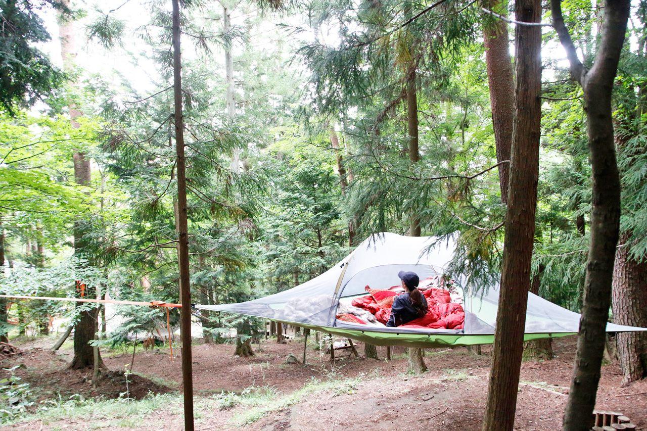 健康美を目指す筋トレ!頑張ったあとは空中テントでご昼寝