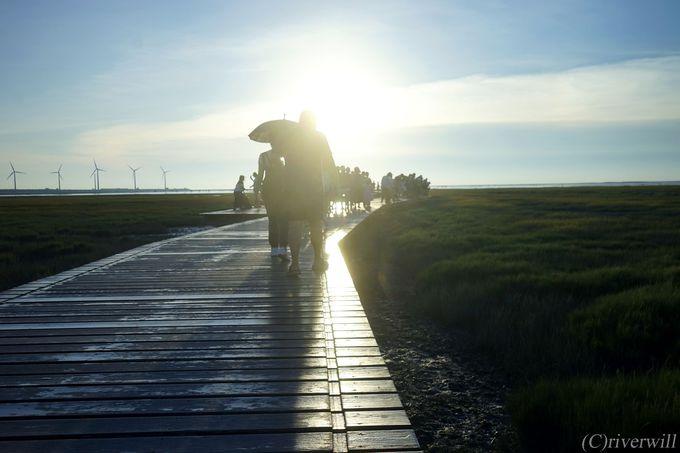 日没に間に合うように、いざ高美湿地へ
