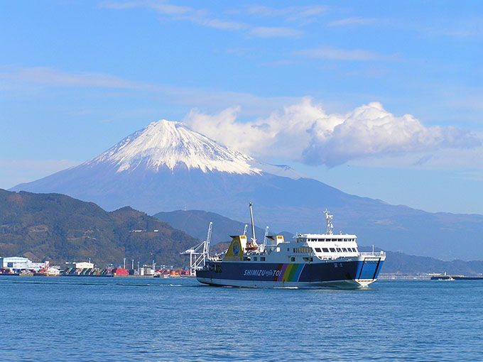 1日目午前:清水港から出発!フェリーからは富士山も